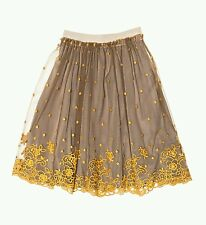 NWT NEW Monnalisa Italy girls earth grey/ brown tulle lace embroidered skirt 12y