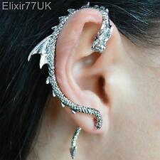 NUOVO ARGENTO DRAGO SERPENTE Ear Cuff Clip Wrap Lure Orecchini gothic punk regalo UK