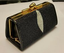 Genuine Stingray Wallets Skin Leather Women's Coin Bags Purses Black Handmade