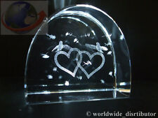 LASER CRYSTAL PAPERWEIGHT HEART LOVE BIRDS 3682 PRESENTATION BOXED
