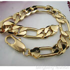 "18k Gold GF Solid Figaro link Chain Men's bracelet 9""12MM NEW"