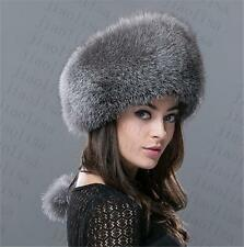 new Genuine Real fashion Winter Women fox fur New Hat Cap Headgear Beanie C8
