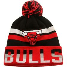 Mitchell And Ness Chicago Bulls Thicked Ribbed Knit Beanie black red