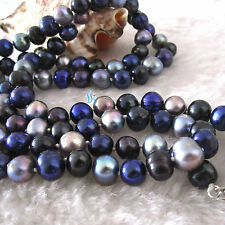 "34"" 7-9mm Dark Gray Navy Black Freshwater Pearl Necklace"