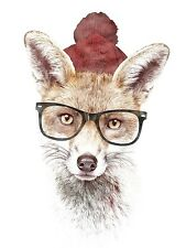 UNIQUE HIPSTER GIFT IT'S PRETTY COLD OUTSIDE ART PRINT fox glasses 12x16 poster