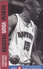 2003-04 TORONTO RAPTORS BASKETBALL POCKET SCHEDULE