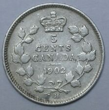 OLD CANADIAN COIN - 1902 LH/SH - 5 CENTS - .925 SILVER - Edward VII