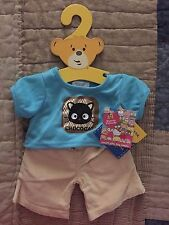 BUILD A BEAR CHOCOCAT HELLO KITTY RETIRED OUTFIT SHIRT & CORDS & HANGER NWT HTF