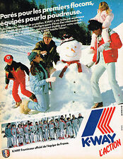 PUBLICITE ADVERTISING 104  1982  K-WAY  vetements de ski  EQUIPE DE FRANCE