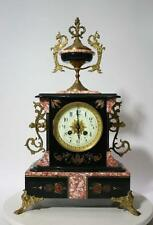 ANTIQUE FRENCH  CLOCK pink black  MARBLE MOVEMENT AD MOUGIN BRASS ORNAMENTS