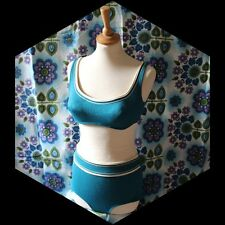 vintage 60s 70s Silhouette blue bikini 2 piece swimsuit UK 10 pin up rockabilly