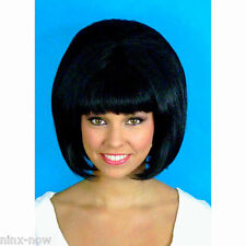 60's Beehive Hairspray Black Hair Wig Women's fancy dress costume accessory
