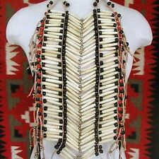 "Very Nice 25"" Hairpipe Deer Bone Beaded Breastplate Necklace or Wall Decor"