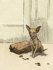 CHIHUAHUA CHARMING DOG GREETINGS NOTE CARD CUTE DOG SITS WITH PURSE