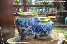 100% Bronze 24K Gold Gilt Cloisonne hill rivers Crane Tree picture jar crock pot
