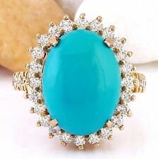 9.95CTW NATURAL TURQUOISE  AND DIAMOND RING IN 14K ROSE GOLD