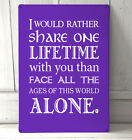 Lord of the Rings inspired Quote sign Purple A4 metal plaque decor