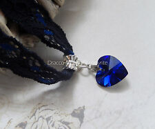 Handmade Black/Blue Lace Choker/Necklace 14mm Foil Crystal Heart Party/Gothic UK