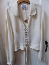 STUNNING VINTAGE STYLE 1940'S CREPE TIE WAIST BLOUSE BNWT SIZE 16