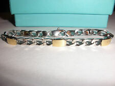 CLASSIC VINTAGE TIFFANY CO STERLING SILVER & 18K GOLD LINK BRACELET  WITH BOX