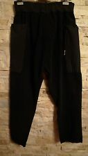 DAMIR DOMA SILENT BLACK DOJO FLEECE ELASTIC WAIST BLACK PANTS, MADE IN ITALY, L
