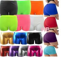 Ladies Women Neon Lycra Stretchy & Metallic Wet Look Shiny Hot Pant Shorts S-XL
