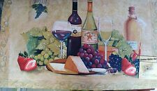 NWT Outdoor Or Indoor Kitchen Rubber Floor MAT w/ WINE BOTTLE GRAPES CHEESE