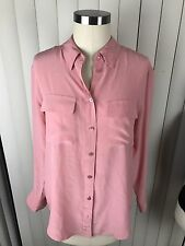 Equipment Femme Women's Pink Silk Long Sleeve Button Front Shirt Small