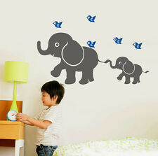 wall stickers elephant birds Art Removable Vinyl kids Nursery Decor decal