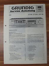 Cassette Deck CF400 CF4000 CBF400 Grundig Service Manual Serviceanleitung