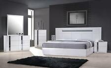 MONTE CARLO - KING SIZE WHITE LACQUER CHROME 5PC BEDROOM SET W LIGHT