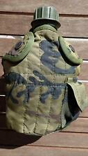 GOURDE MILITAIRE avec Poches accroches Camouflage CHASSE Armée scouts bottle TBE