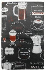 "Coffee House Barista Black vinyl flannel back tablecloth 52"" x 90"" Oblong"