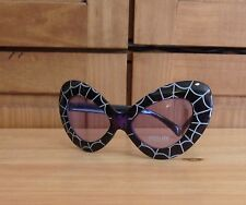 Halloween Costume Cat Sun Glasses Spider Web Black White Purple