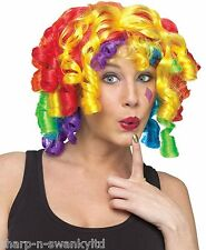 Ladies Rainbow Multi Coloured Curly Clown Circus Fancy Dress Costume Outfit Wig