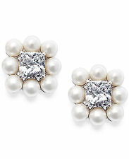 NWT Auth Eliot Danori Silver-Tone Glass Pearl and Crystal Stud Earrings