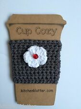 Cute 100% Cotton Crochet Coffee To Go Cup Sleeve Cozy Dark Grey Flower Red Bead