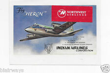 INDIAN AIRLINES CORP DE HAVILLAND HERON BAGGAGE LABEL REPRODUCTION