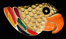 FAB! ViNTAGE 80s MiMi Di N GOLD RAiNBOW ENAMEL 3-D PARROT HEAD BiRD BELT BUCKLE