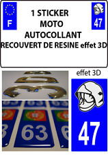 1 sticker plaque immatriculation MOTO DOMING 3D RESINE CASQUE DE POMPIER DEPA 47