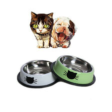 2X Cat Dog Puppy No Tip No Slip Stainless Steel Food Water Bowl Random Color