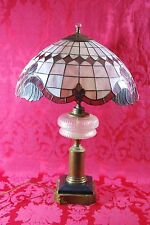 Antique Tiffany Style Purple Floral Stained Glass Lamp with Glass & Brass Stand