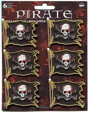 PIRATE FLAG skull & crossbones 6 IRON-ON MINI PATCH SET jolly roger p-4332-s