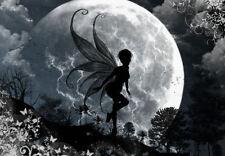 Encadrée imprimer-fée volante dans le clair de lune (photo fantasy mythique art)