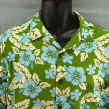 Hilo Hattie Hawaiian Shirt Large Adult L Tiki Party Tropical Green Hibiscus