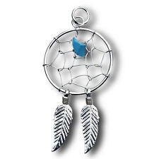 Sterling Silver DREAM CATCHER Pendant w/ Turquoise