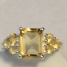 Genuine 8ct Golden Citrine 925 Solid Sterling Silver Solitaire Ring sz 7.75