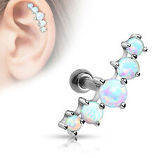 "1pc Five Opal Stone Tragus Cartilage Ring 1/4"" Barbell Surgical Steel 16g"