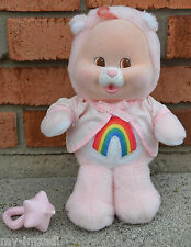 Vintage Baby CHEER BEAR CUB Plush Flocked CARE BEAR Kenner COMPLETE Accessory