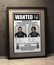 Supernatural - Faux  'FBI Wanted Poster'  - A3 Size  Dean Winchester